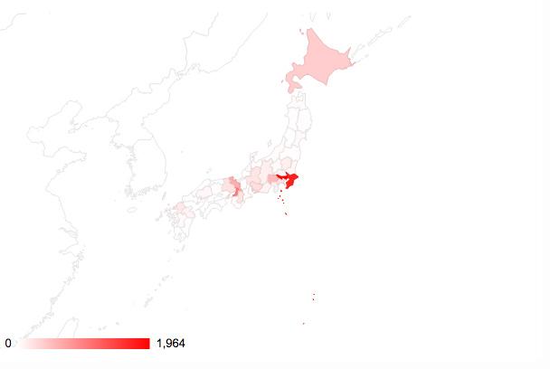 タイ人都道府県別訪問率ヒートマップ